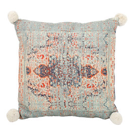 Indian print pillow square blue cotton