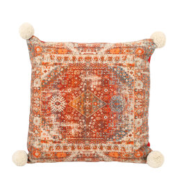 Indian print pillow square red cotton