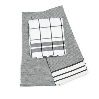 Keukenhanddoek katoen zwart 50x70 set of 3