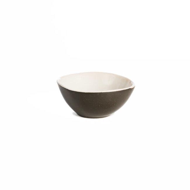 Kommetje  porselein mat zwart - wit