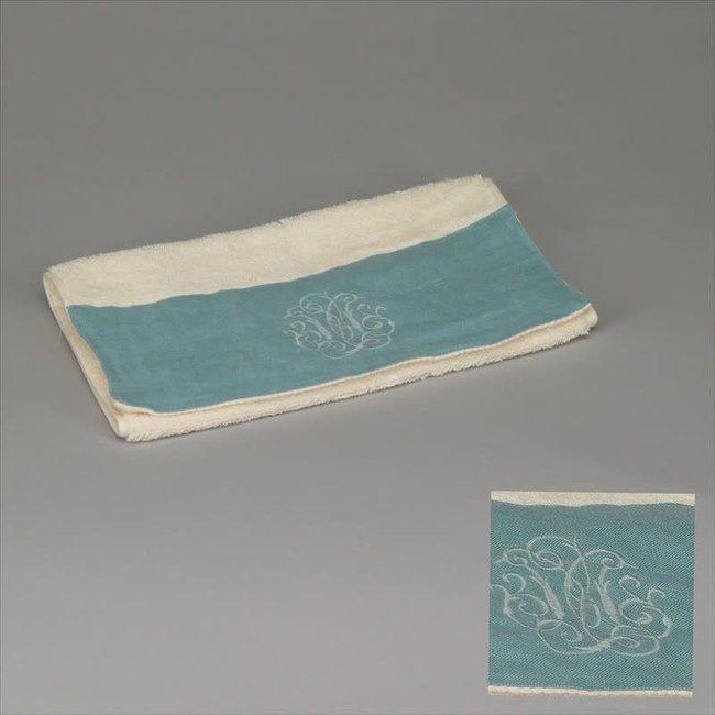 gastendoek wit met azurblauw 30x50 cm set van 3