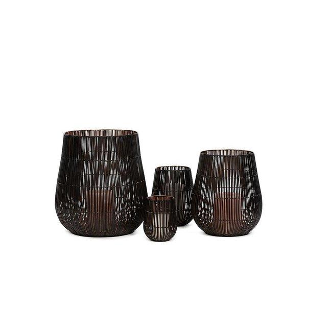 Dekocandle kaarshouder koper zwart medium dia 19x23 cm