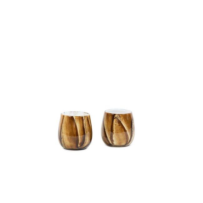 Bowl theelichthouder met houtdesign H14