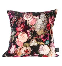 Vajen pink velvet cotton cushion bloem print s