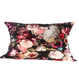 Vajen pink velvet/cotton cushion bloem print m