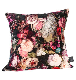 Vajen pink velvet cotton cushion bloem print l