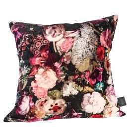 Vajen pink velvet cotton cushion bloem print l