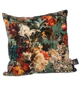 Vajen blue velvet cotton cushion print l