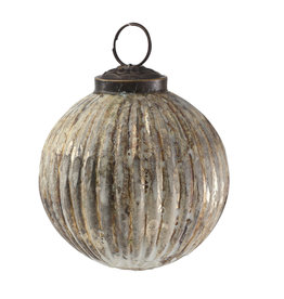 asley silver dirty finish glass Christmas ball s