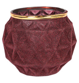 Velvet red glass candle holder