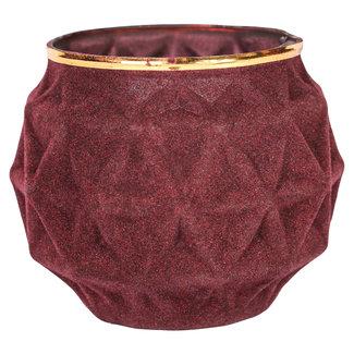 Velvet red glass candle holder L