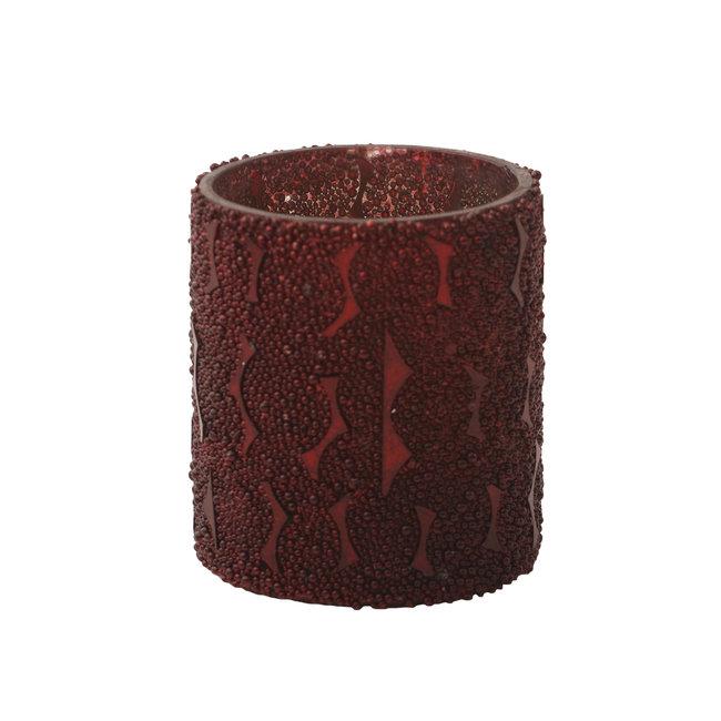 Beads red glass tealight