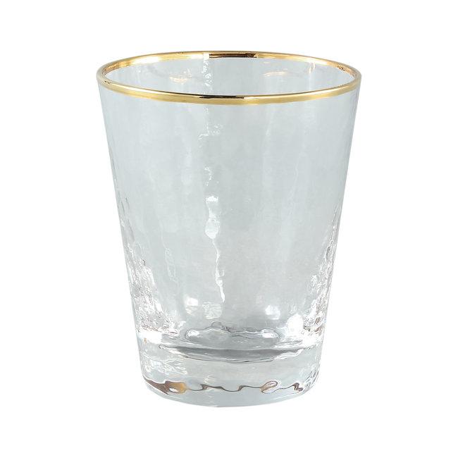 Mylène clear glass gold border water glass