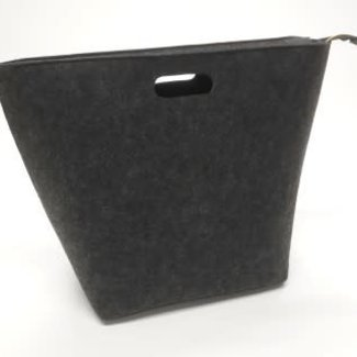 vilten zak met rits donker grijs 60x25x45 cm