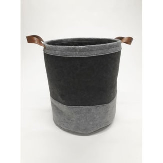 vilten zak grijs met handvaten en koordsluiti,g dia 40H45