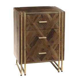 PTMD Roan natural Mango wood 3 drawers bedside cabinet