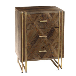 PTMD Roan natural Mango wood 3 drawers bedside cabinet