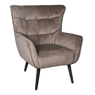 PTMD Kian velvet fauteuil sand velvet black wood leg