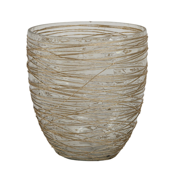 PTMD Dayn gold glass tealight ribbed round m