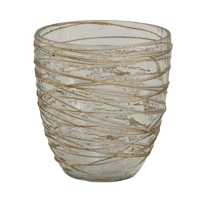 Dayn gold glass tealight ribbed round S