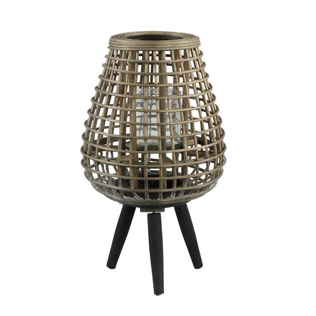 Abell naturl bamboo lantern wooden feet round s