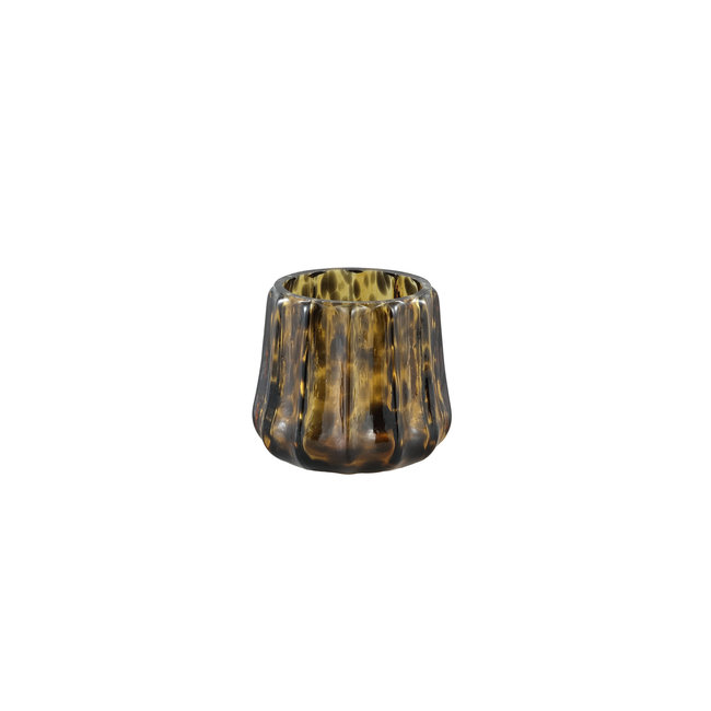 Panther Brown glass stormlight ribbed round S