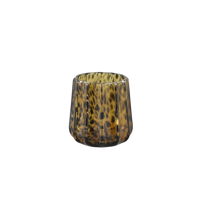 Panther Brown glass stormlight ribbed round large