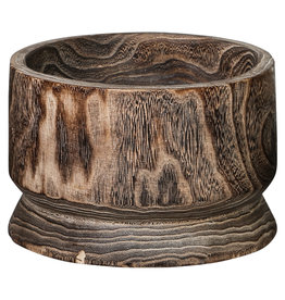 PTMD Paloma wood brown pot straight round M