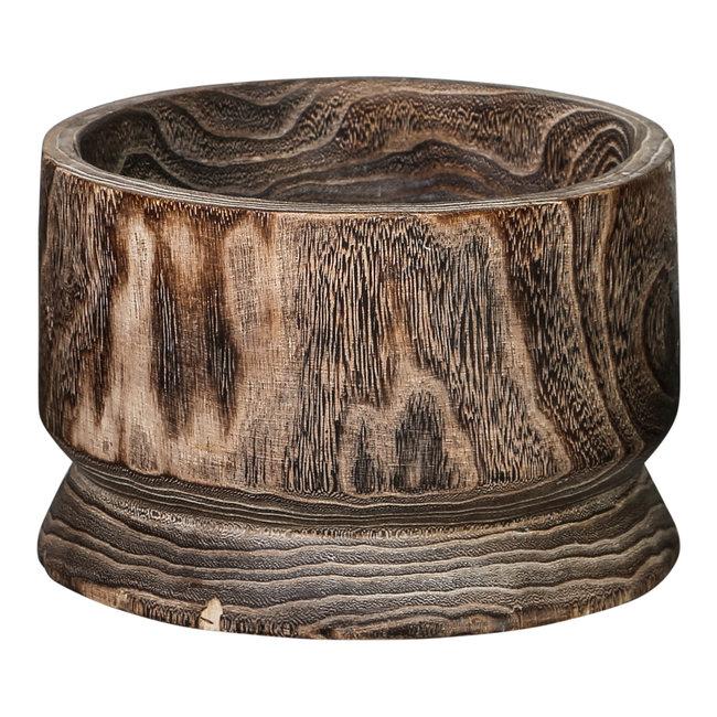 Paloma wood brown pot straight round s