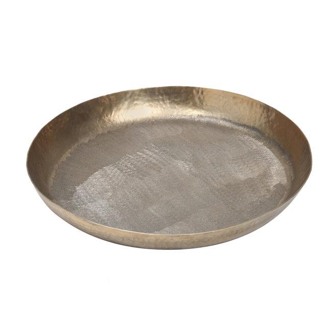 Fredo Antique gold 2 stone alu tray round large