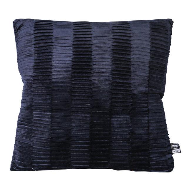 PTMD Charell dark blue ribbed velvet cushion square
