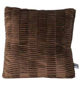 PTMD Charell brown ribbed velvet cushion square
