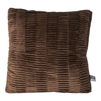 PTMD Charell brown ribbed velvet cushion square