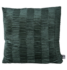 PTMD Charell dark green ribbed velvet cushion square