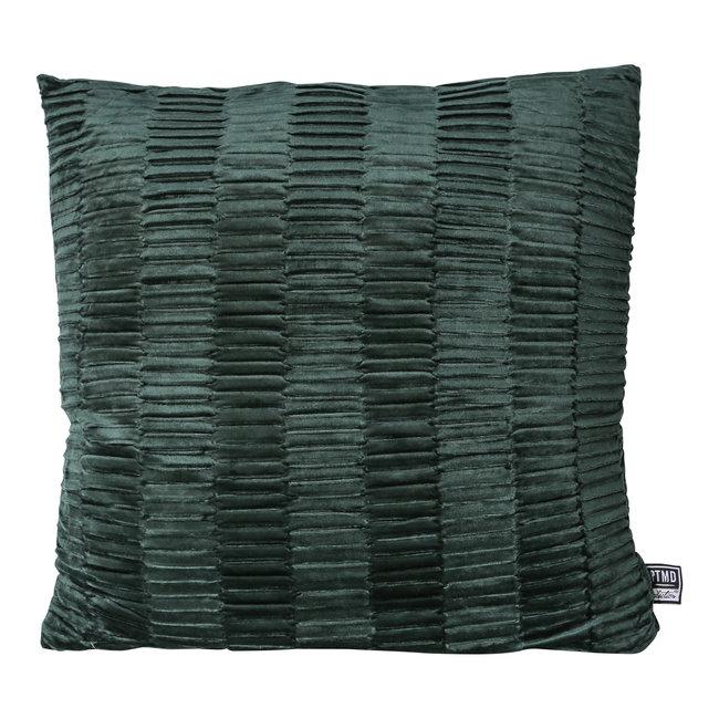 Charell dark green ribbed velvet cushion square