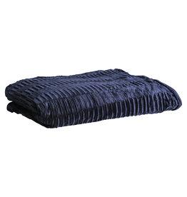 PTMD Charell dark blue ribbed velvet plaid rectangle