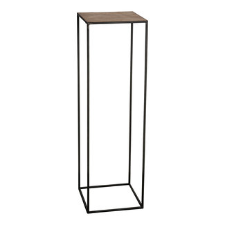 PTMD Roana black metal plant table gold top square s