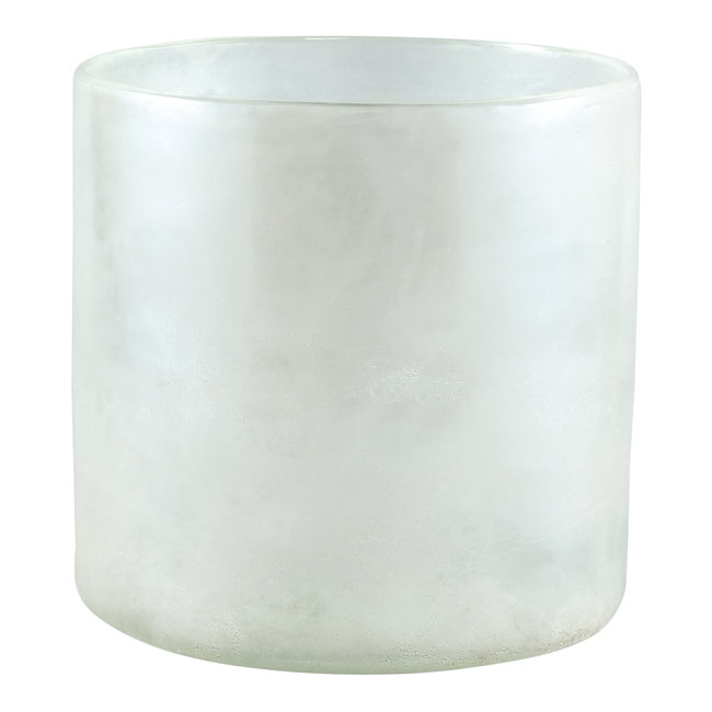 Tuxx white mat glass vase round big l