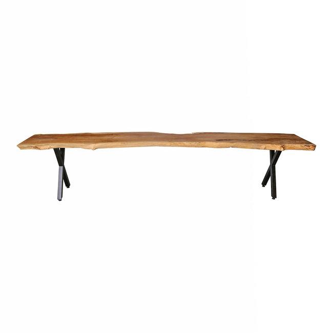Juar wood natural Bench black X- leg