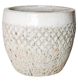 PTMD Zach white glazen ceramic diamond pot round s