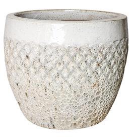 PTMD Zach white glazen ceramic diamond pot round m