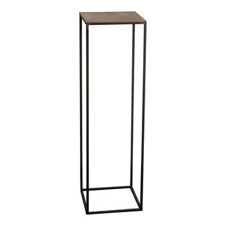 PTMD Roana black metal plant table gold top square L