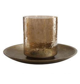 PTMD jazzy brass alu candleplate with glass stormlight