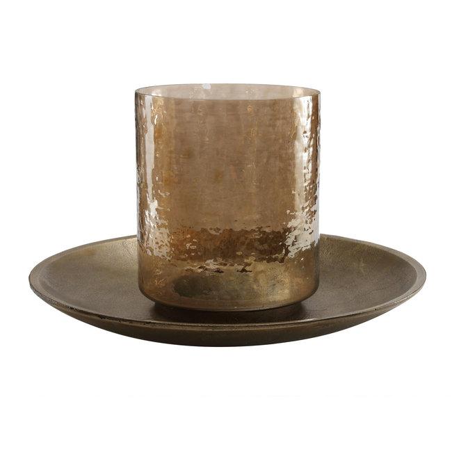 jazzy brass alu candleplate with glass stormlight