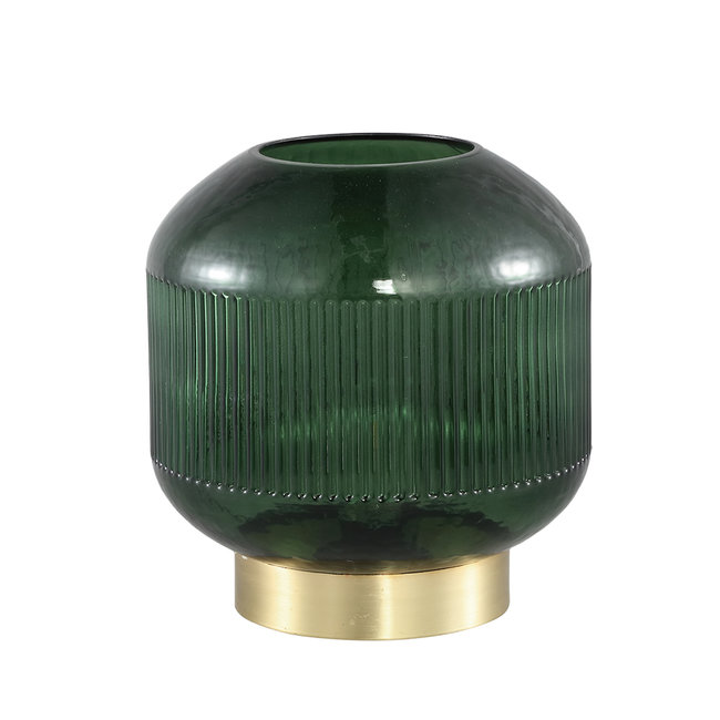 destin green glass table lamp ribbed round