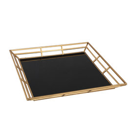 PTMD Caylen gold metal black glass tray square
