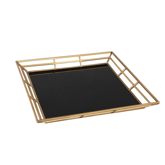 Caylen gold metal black glass tray square