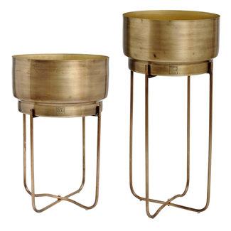 PTMD Zaya brass metal planten set of 2