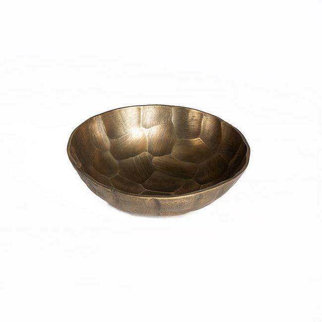 Schaal aluminium antiek goud dia 34 H 11 cm