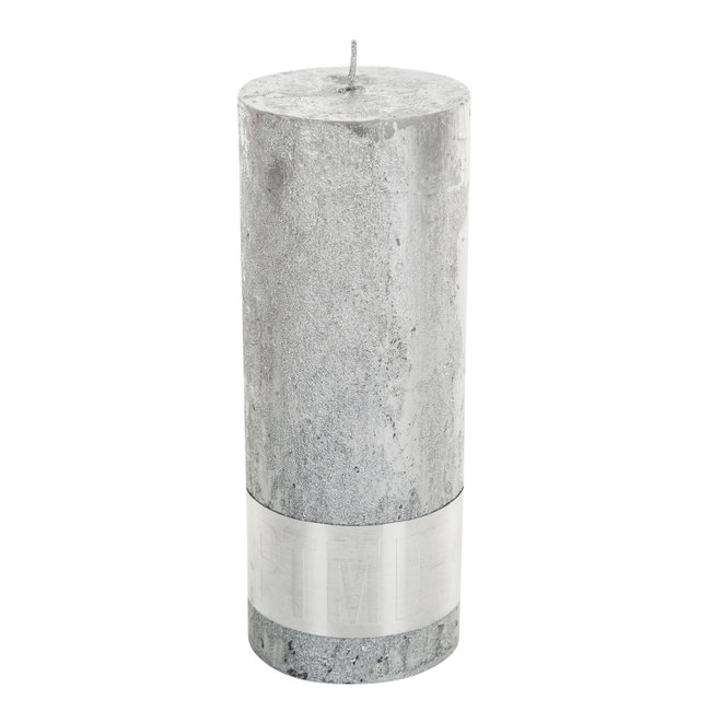 Rustic silver pillar candle 7x18
